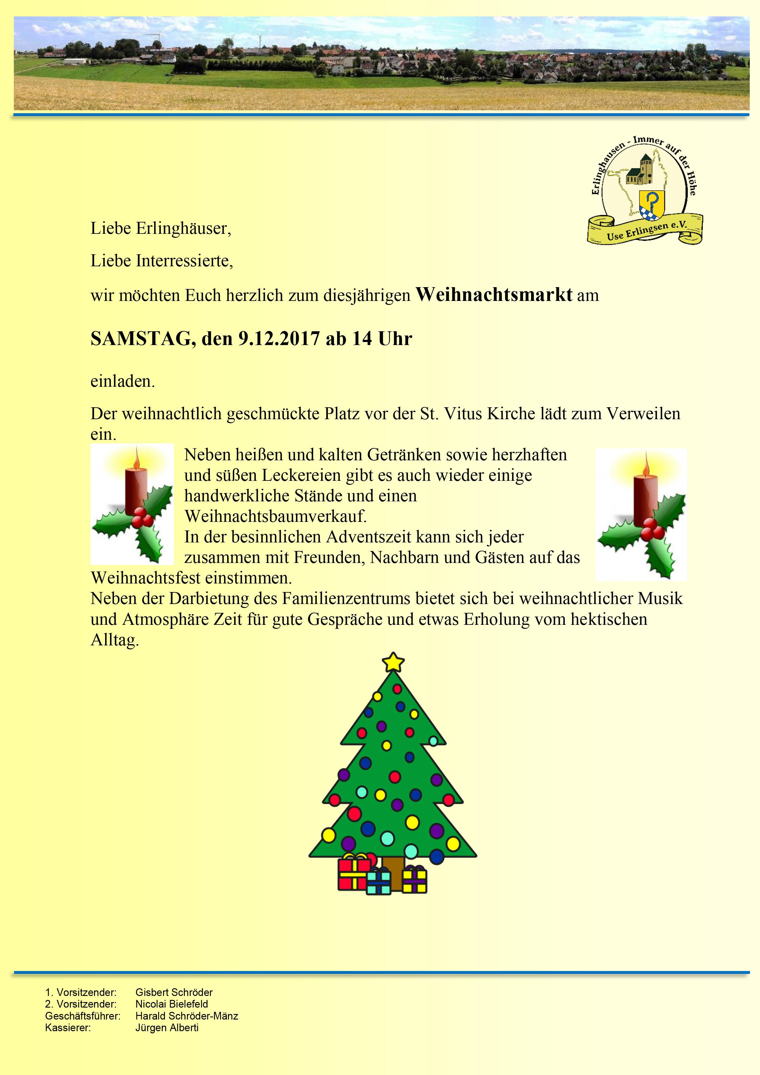 Weihnachtsmarkt am 9.12. ab 14 Uhr - Erlinghausen
